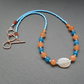 Orange Agate and Blue Quartz Beaded Necklace