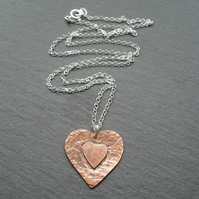 Copper Heart Pendant With Sterling Silver Chain Vintage Style