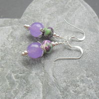 Lilac Quartz and Rainflower Jasper Sterling Silver Drop Earrings
