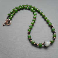 Green Quartz And Black Agate Antique Copper Tone Necklace Vintage