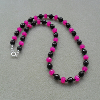 Black Onyx and Fuchsia Pink Chalcedony Sterling Silver Necklace