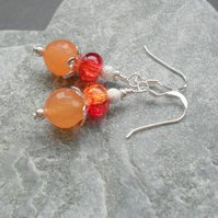 Orange and Red Quartz With Orange Agate Sterling Silver Drop Earrings