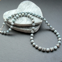 Sterling Silver Natural Aquamarine and Black Spinel Gemstone Necklace