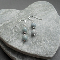 Aquamarine and Black Spinel Sterling Silver Dangle Drop Earrings