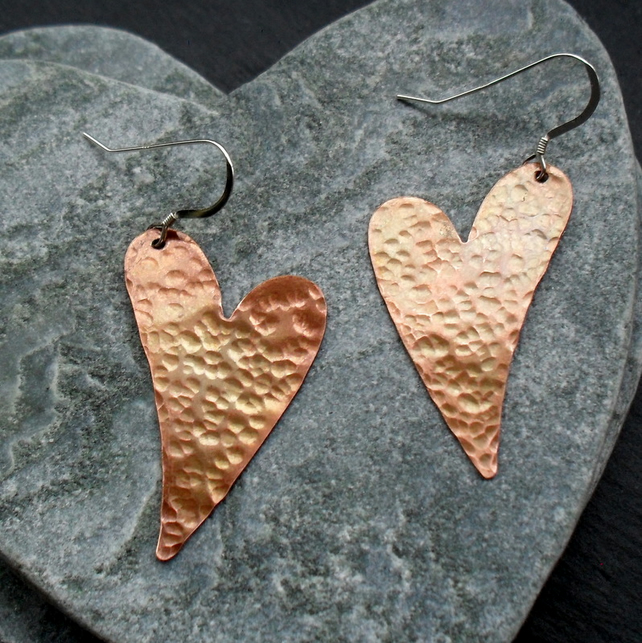 Copper Heart Vintage Earrings With Sterling Silver Ear Wires Vintage