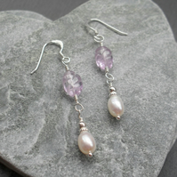 Freshwater Pearls and Lilac Amethyst Drop Dangle Sterling Silver Earrings