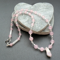 Pink Quartz Beaded Necklace With Semi Precious Gemstones and Swarovski Elements
