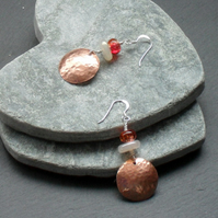 Copper Quartz and Chalcedony Drop Earrings Sterling Silver Ear Wire