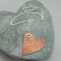 Vintage Style Copper Heart Pendant With Sterling Silver Heart Charm