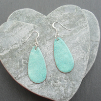 Sterling Silver With Turquoise  Enamelled  Copper Drop earrings