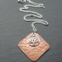 Copper  Pendant With Sterling Silver Tree Of Life Charm Vintage Style