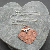 Dandelion Copper  Pendant With Sterling Silver Bee Charm Vintage Style