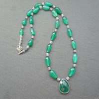 Sterling Silver Green Onyx Black Spinel and Quartz Beaded Necklace