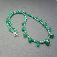 Sterling Silver Green Onyx and Quartz Beaded Necklace