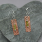 Sterling Silver and Copper Bar Earrings With Peridot Semi Precious Gemstones