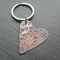 Mum Copper Heart Keyring Vintage