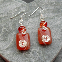 Wire Wrapped Orange Agate Semi Precious Gemstone Earrings