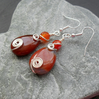 Autumn Tone Earrings With Semi Precious Gemstone Agate Drop