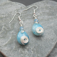 Blue Agate Wrapped Drop Earrings