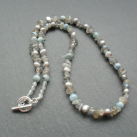 Natural Aquamarine Freshwater Pearls and Labradorite Beaded Necklace