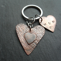 Vintage Style Mum Copper Heart Keyring