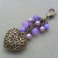 Purple and Lilac Bronze Tone Heart Bag Charm