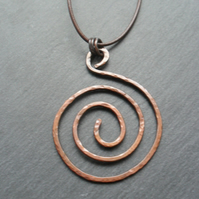 Copper spiral Pendant With Leather Cord and Sterling Silver