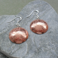 Dandelion Disc Shaped Copper Earrings With Sterling Silver Ear Wires