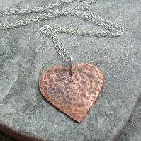 Vintage Style Copper Small Heart Pendant With Sterling Silver Chain