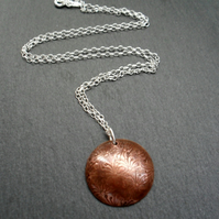 Dandelion Copper Disc Pendant With Sterling Silver Chain Vintage Style