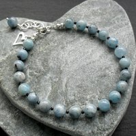 Natural Aquamarine and Black Spinel Sterling Silver Bracelet