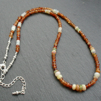 Ethiopian Opal and Hesonite Garnet Sterling Silver Necklace