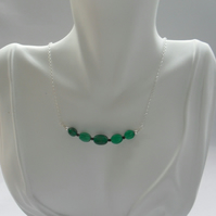 Green Onyx and Black Spinel Sterling Silver Bar Style Necklace