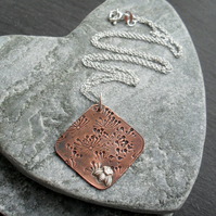 Copper Pendant With Sterling Silver Bee Vintage Style