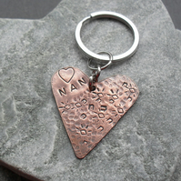 Copper Heart Keyring Gift For Nan