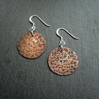 Disc Shaped Not Quite Round Copper Earrings With Sterling Silver Ear Wires