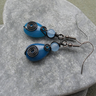Wire Wrapped Blue Agate Earrings Black Tone