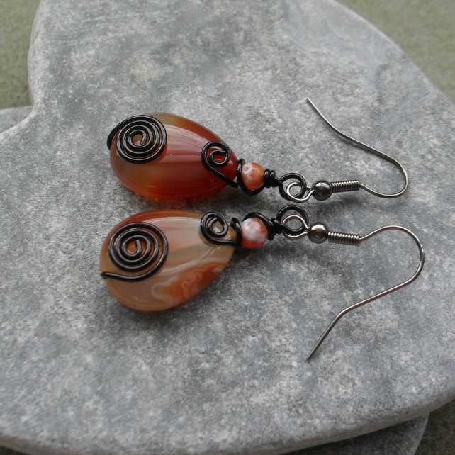 Wire Wrapped Agate Drop Earrings Black Tone