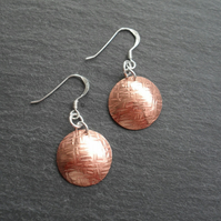 Copper Domed Disc Earrings With Sterling Silver Ear Wires