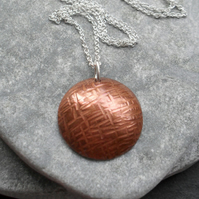 Vintage Style Copper Domed Disc Pendant With Sterling Silver Chain