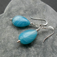 Sterling Silver Blue Banded Agate Earrings