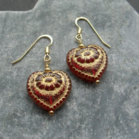 Red Czech Glass Heart Earrings Gold Vermeil