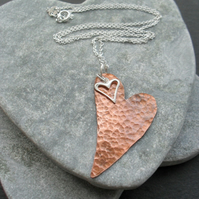 Copper Heart Pendant With Sterling Silver Heart Charm Vintage Style