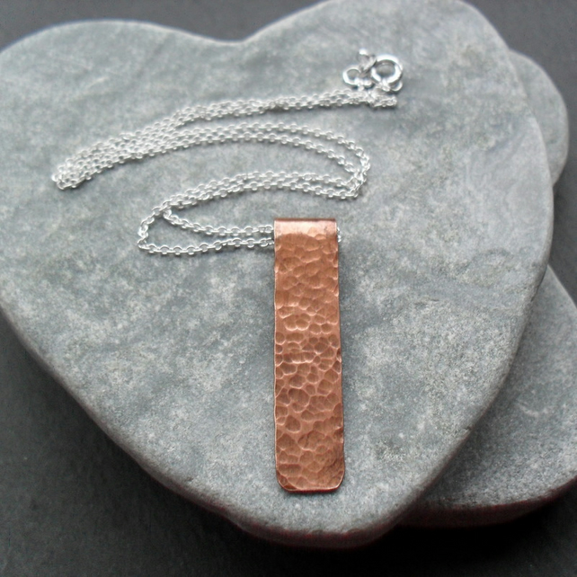 Copper Bar pendant With Sterling Silver Vintage Style
