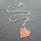 Copper Small Heart Pendant With Sterling Silver Chain Vintage