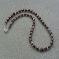 Sterling Silver Leopardskin Jasper and seed Bead Necklace