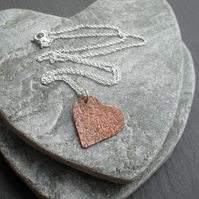 Vintage Copper Small Heart Pendant With Sterling Silver Chain