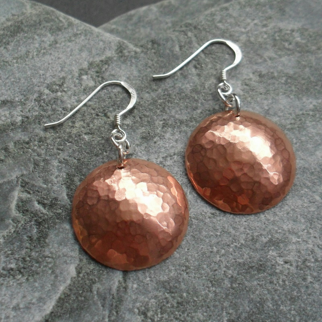 Copper Disc Earrings With Sterling Silver Ear Wires