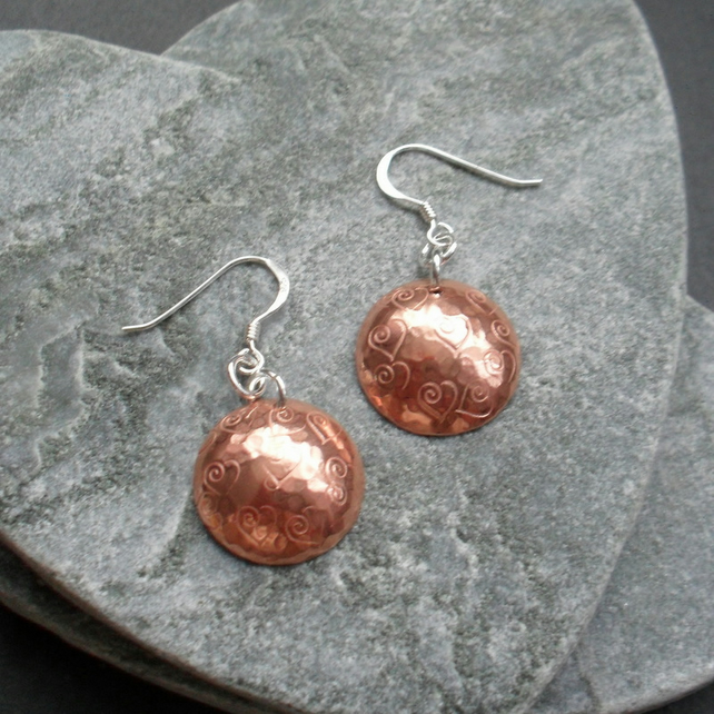Copper Disc With Heart Detail Earrings With Sterling Silver Ear Wires