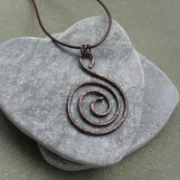 Oxidised spiral Copper Pendant With Leather Cord and Sterling Silver